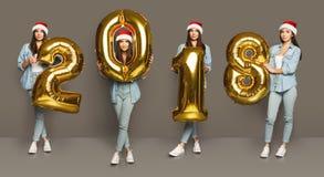 Коллаж девушки с портретами воздушных шаров 2018 номеров Стоковое Фото