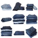 Коллаж джинсов изолированных на белизне стоковое фото