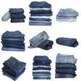 Коллаж джинсов изолированных на белизне стоковое изображение