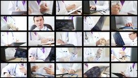 Коллаж докторов анализируя и объясняя некоторые результаты и делая процедуры сток-видео