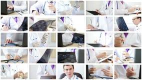 Коллаж докторов анализируя и объясняя некоторые результаты и делая процедуры видеоматериал