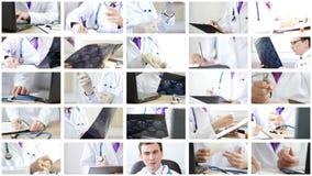 Коллаж докторов анализируя и объясняя некоторые результаты и делая процедуры акции видеоматериалы