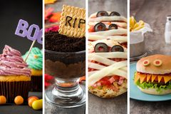 Коллаж еды хеллоуина стоковая фотография rf