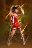 Коллаж женщины брюнет танцы Стоковое Изображение