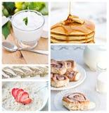 коллаж завтрака здоровый Стоковая Фотография