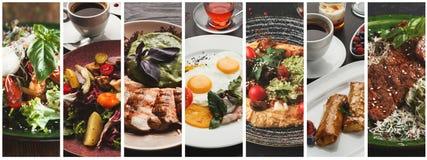 Коллаж здорового завтрака с различными продуктами стоковое фото