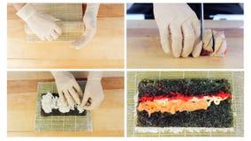Коллаж ингридиентов суш белизна суш половика предпосылки bamboo варя сток-видео