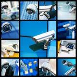 Коллаж камеры или системы охраны CCTV безопасностью крупного плана Стоковое фото RF