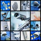 Коллаж камеры или системы охраны CCTV безопасностью крупного плана Стоковое Фото