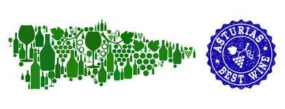 Коллаж карты вина виноградины провинции Астурии испанской и самой лучшей печати вина иллюстрация вектора