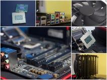 Коллаж компонентов персонального компьютера стоковые фотографии rf