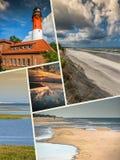 Коллаж красивого песчаного пляжа Leba, Балтийского моря, Польши Стоковые Изображения
