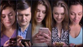 Коллаж 5 людей используя смартфон акции видеоматериалы