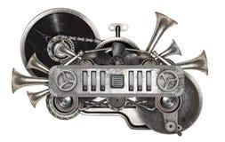 Коллаж металла Steampunk старый turntable показателя винила стоковое изображение