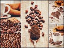 Коллаж много изображений кофе Стоковые Фото