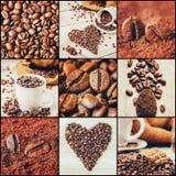 Коллаж много изображений кофе Стоковая Фотография