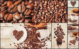 Коллаж много изображений кофе Стоковые Изображения