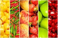 Коллаж много различных плодоовощей Стоковая Фотография RF