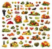 Коллаж много различных фруктов и овощей Стоковые Изображения