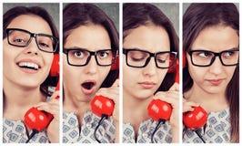 Коллаж молодой женщины говоря на телефоне стоковые фотографии rf
