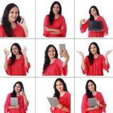 Коллаж молодой жизнерадостной индийской женщины с различными выражениями над белизной Стоковая Фотография RF
