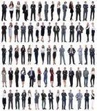 Коллаж молодых бизнесменов стоя в ряд стоковое изображение