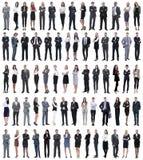 Коллаж молодых бизнесменов стоя в ряд стоковые фото