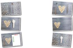 Коллаж на белых зубах предпосылки стоковое изображение