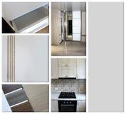 Коллаж на теме мебели мебель на черноте Стоковые Фото