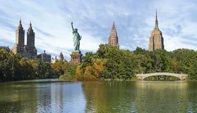 Коллаж Нью-Йорка Central Park и ориентир ориентиров NYC стоковое изображение