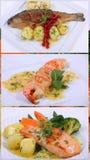 коллаж обедая точная еда Стоковые Изображения