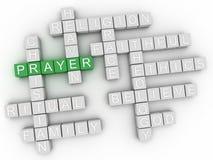 коллаж облака слова молитве 3d, предпосылка концепции вероисповедания Стоковые Изображения