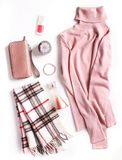 Коллаж одежды зимы Женские установленные одежды Стоковое Изображение