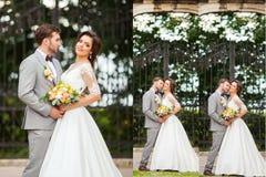 коллаж 9 одно венчание установленное фото венчание groom церков церемонии невесты Стоковые Изображения