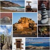 Коллаж острова Лансароте, естественные интересы, открытка стоковое фото