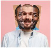 Коллаж от 2 изображений усмехаясь африканских и кавказских людей Стоковое Изображение