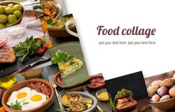 Коллаж от различных изображений вкусной еды Стоковое Изображение RF