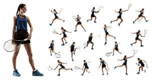 Коллаж о молодой женщине играя теннис изолированный на белой предпосылке стоковые изображения