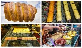 Коллаж о традиционной чехословакской еде улицы - trdelnik стоковая фотография rf