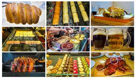 Коллаж о традиционной чехословакской еде улицы - trdelnik стоковые фото