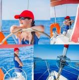 Коллаж плавания девушки на яхте в Греции Стоковые Фотографии RF