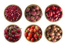 Коллаж плодоовощей и ягод красного цвета изолированных на белизне Установите клубник, вишен, поленик, cornels, крыжовников и pome стоковые изображения