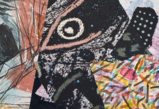 Коллаж покрашенный рукой бумажный Стоковые Изображения