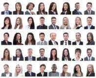 Коллаж портретов успешных работников изолированных на белизне стоковое изображение