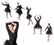 Коллаж представления положения танцора балерины женщины Стоковое фото RF