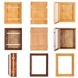 Коллаж 9 пустых отлакированных деревянных рамок для картин Стоковое Изображение RF