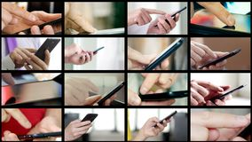Коллаж различных людей вручает отправляя СМС SMS на smartphones сток-видео