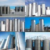 Коллаж силосохранилищ для химических продуктов Стоковые Фотографии RF