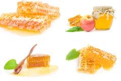 Коллаж сладостного меда на изолированной белой предпосылке Стоковое Изображение
