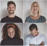 Коллаж смеясь группы в составе разнообразные предприниматели стоковая фотография